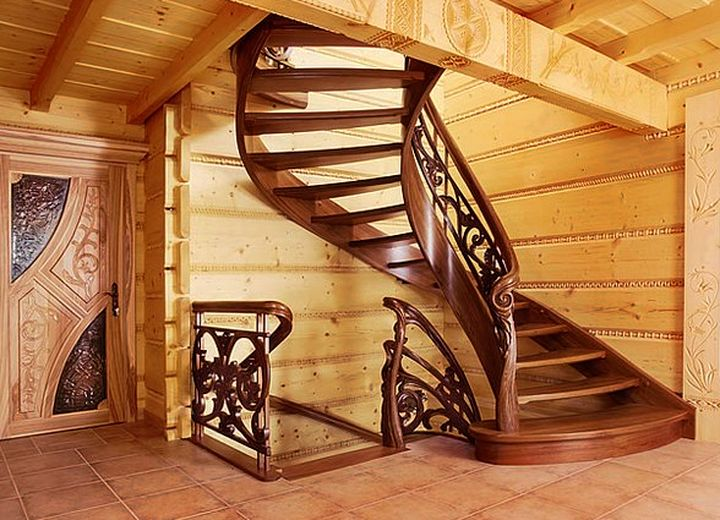 Красивые и удобные деревянные лестницы2