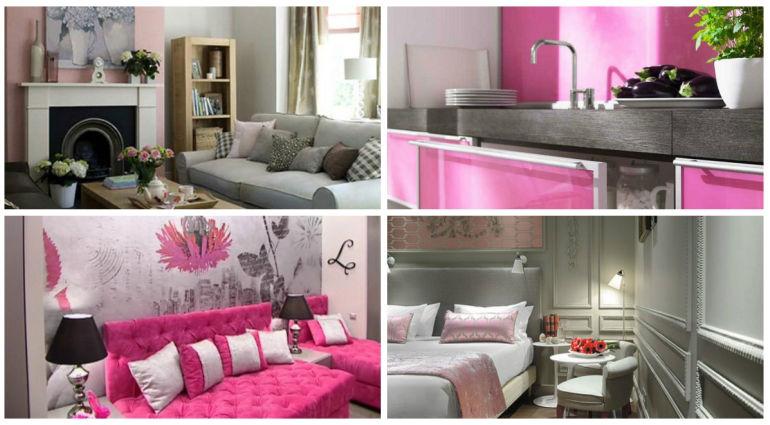 серый и розовый с интерьере