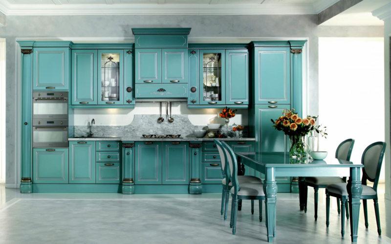 Синяя или голубая кухня