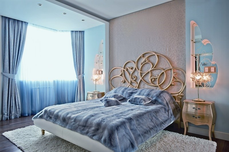 Голубая спальная комната